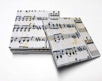 Music Coasters - Sheet Music Drink Coasters - Music Decor - Music Art - Tile Coasters - Ceramic Coasters - Table Coasters On Sale