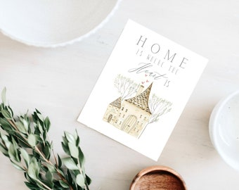 Home is where the heart is, home sweet home, home wall art, home is where the heart is sign, home watercolor, watercolor art, wall art, art