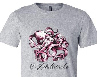 Funny multitasking t shirt, high quality humor women men doable one man army tee shirt, cotton quality print octopus gift t-shirt