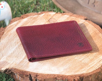 Mens bifold Slim Leather Wallet Irregular Cherry Red / Black two tone Gift for Husband