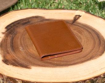 Brown Leather bifold wallet, mens leather wallet, card holder, business card holder, handmade, minimalist wallet
