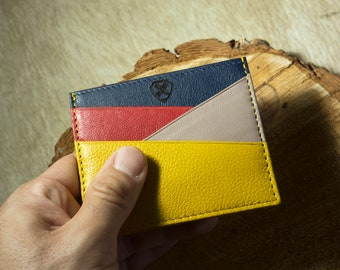 Mens Leather Wallet, Colorful, Card holder, Business card holder, Slim wallet, Womens wallet, Handmade, Gifts for men