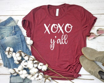3f8ab65585 Xoxo Y'all UNISEX shirt, Valentines day shirt, Valentines day xoxo shirt