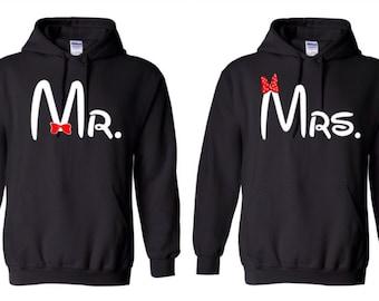Mr. and Mrs. Hooded Sweatshirts Bride and Groom Couple Hoodies  Mr. and Mrs. Hoodies