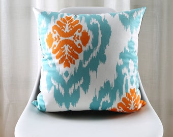 Teal Orange Pillow Etsy