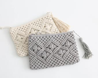 Handmade macrame clutch bag - Boho macrame bag-cotton rope tassel bag width  10  x height 8