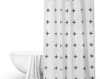Black White Geometric Shower Curtain Bathroom Decor Panels Customized Size 71x79 79x79