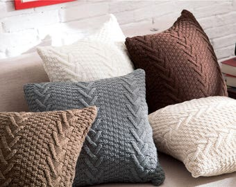 Knitted Throw Pillow Etsy
