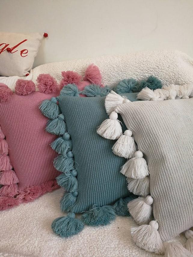 Decorative Tassel Pillow Knitted Cushion CoverPINK GREEN Etsy Impressive Decorative Tassel Pillows