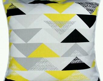 "Decorative Cushion cover /Triangle Throw Pillow/Geometric Printed Cushion cover/ Yellow grey black white Cushion Sham 18x18""-Home decoration"