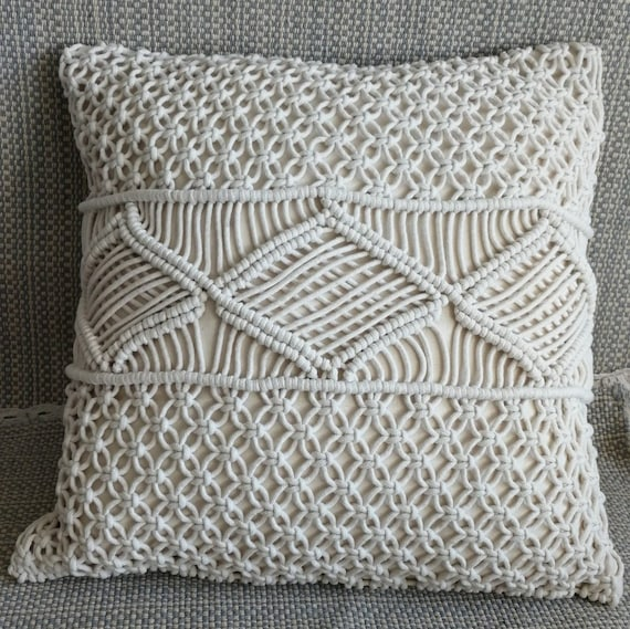 Macramé pillow cover Boho cushion cover