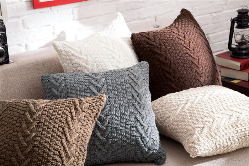Decorative white pillow knitted TASSEL cushion image 0