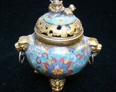 VINTAGE Chinese Cloisonne Hand-Carved Brass Bronze Gilt Enamel Lion Incense Burner Censer RARE