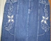 Denim Jeans Embroidered Pencil Straight Skirt - Retro Vintage - Medium Large (17)