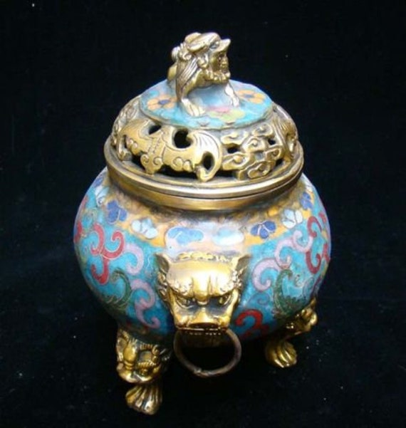 exquisite Old hand carved brass dragon Incense burner XUANDE mark