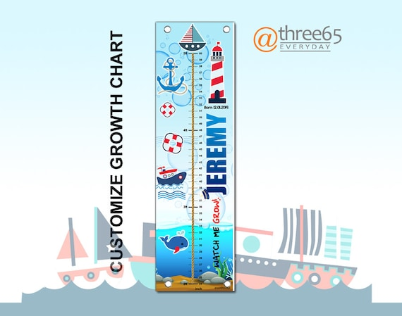 Nautical Growth Chart Personalized Growth Chart Customize Etsy