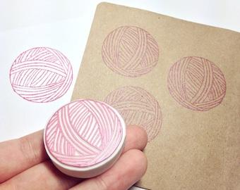 Knitting rubber stamp, knitting handmade rubber stamp, handmade rubber stamp, ball of yarn rubber stamp, handmade yarn stamp, yarn stamp