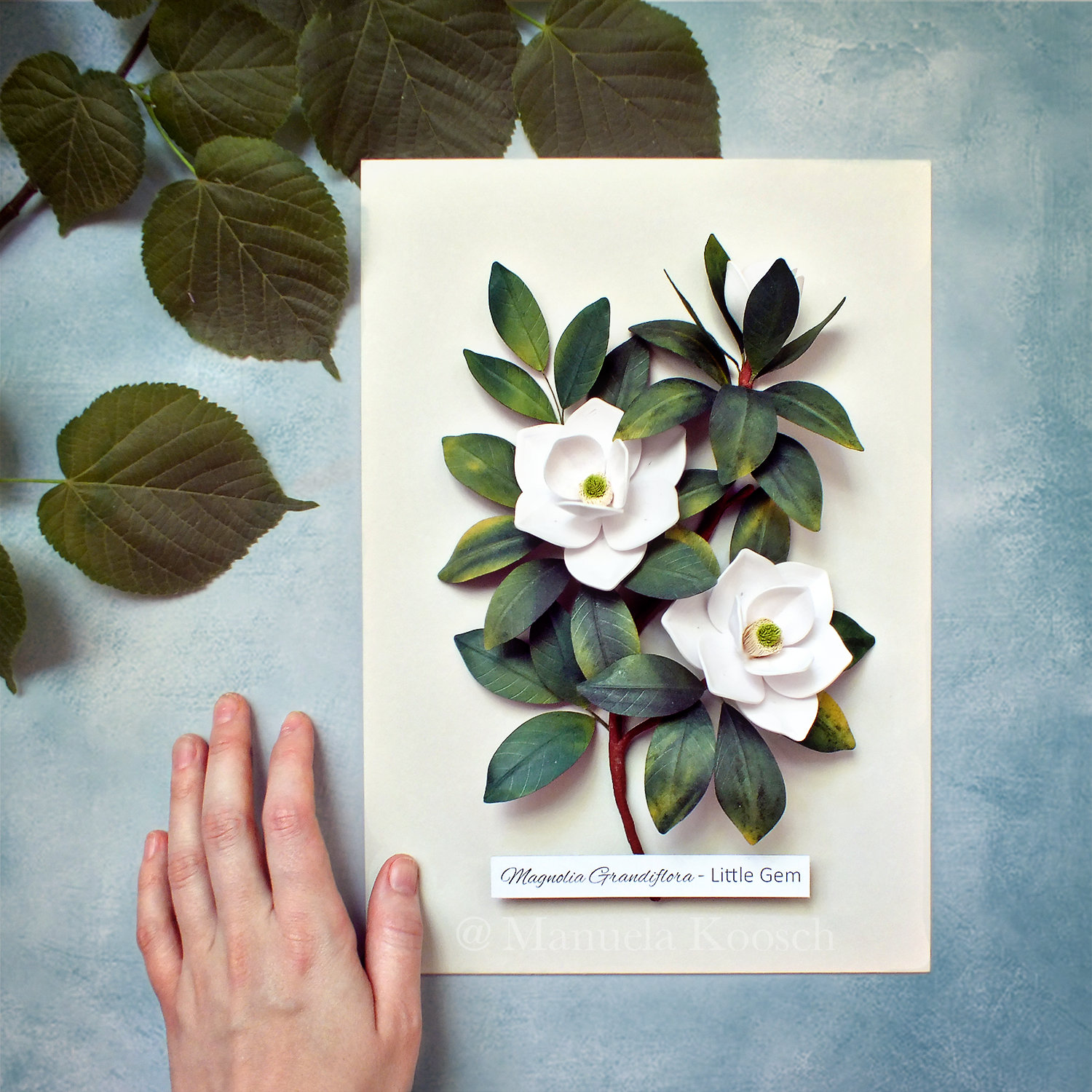 White Magnolia Flowers Botanical Illustration Wall Art White Green Decor Quilled Paper Magnolia Paper Wedding Anniversary Gift For Her
