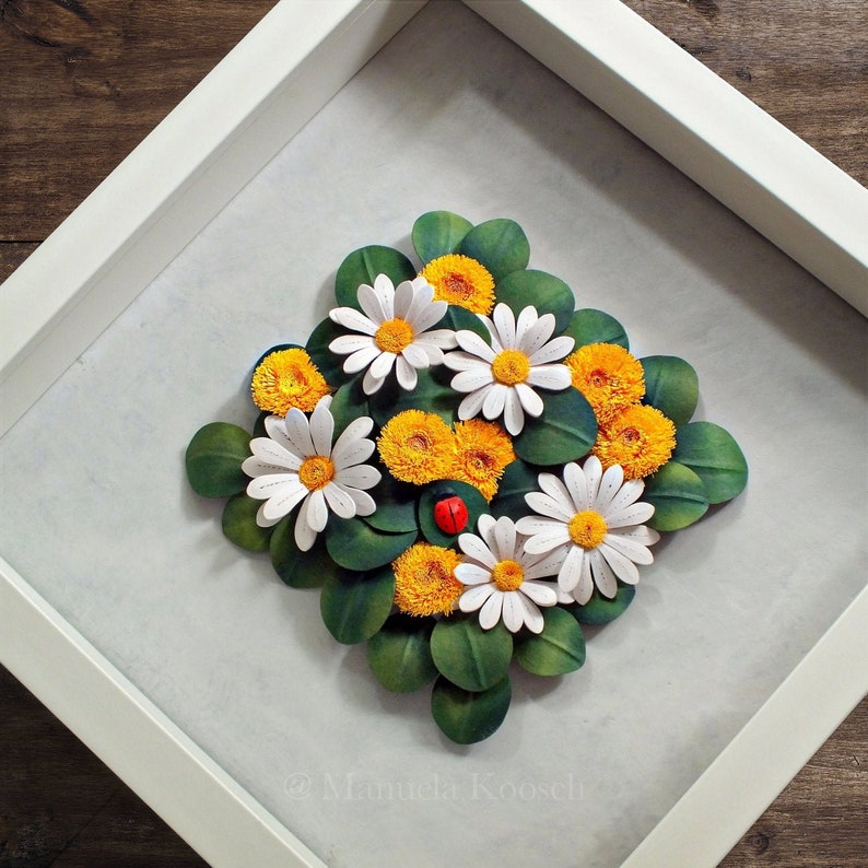 Paper Quilling Dandelion First Anniversary Daisy Ladybug Wall Art Mother/'s Day Gift Idea Wild Flowers Decor in White Green Yellow
