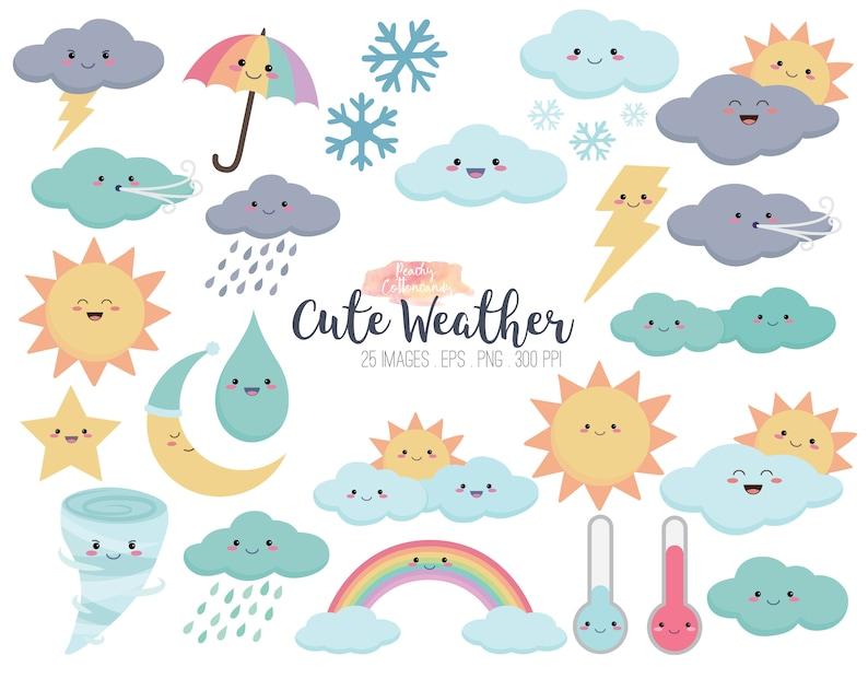 BUY 2 GET 1 FREE Cute Weather Clipart - kawaii weather clip art &  illustration - vector kawaii clipart - rainbow clipart - Commercial Use ok