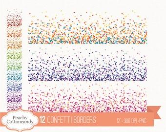 BUY 4 GET 50% OFF 12 Confetti borders clipart - confetti clip art - confetti border - Personal and Commercial Use