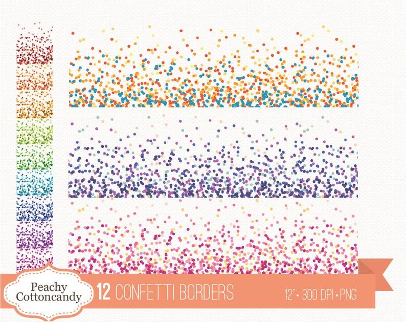 BUY 3 GET 30% OFF 12 Confetti borders clipart  confetti clip image 0