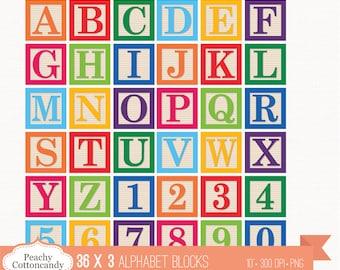 BUY 2 GET 1 FREE 36 Digital Alphabet Blocks Clipart / Baby block Alphabet Clip Art / digital alphabet - commercial use ok
