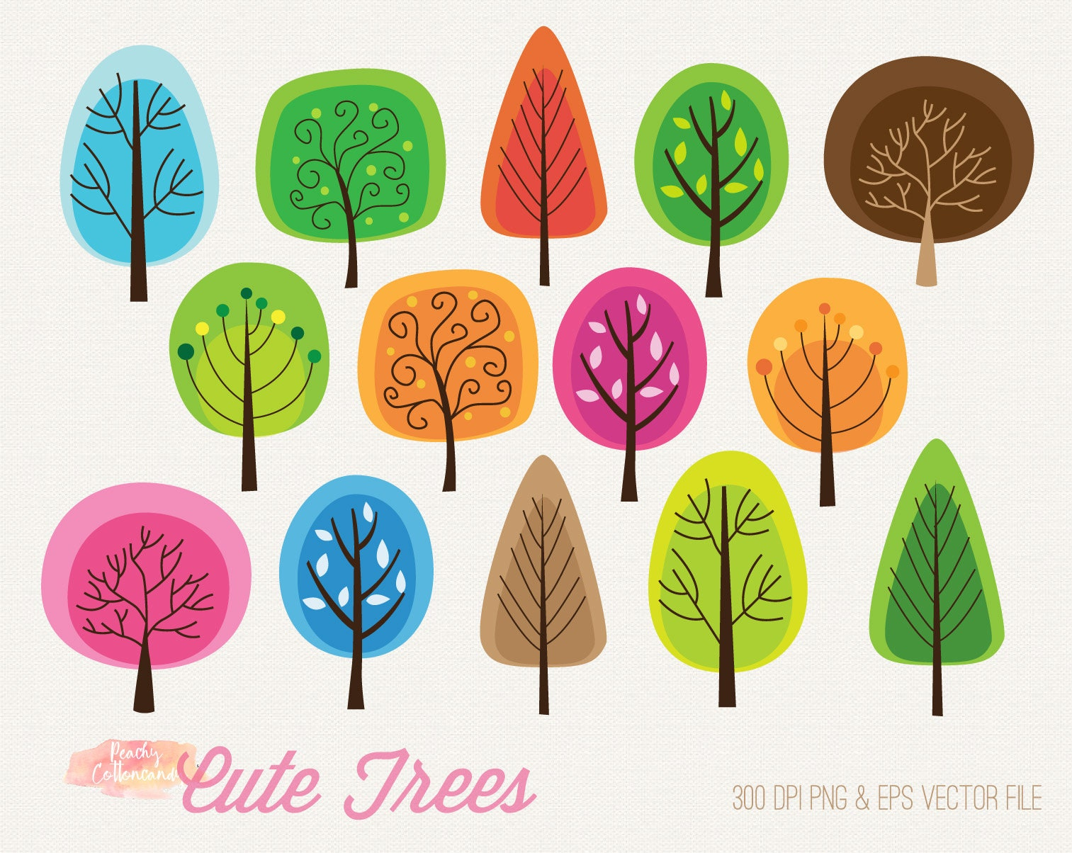 BUY 2 GET 1 FREE Cute Colorful trees clipart whimsical ...