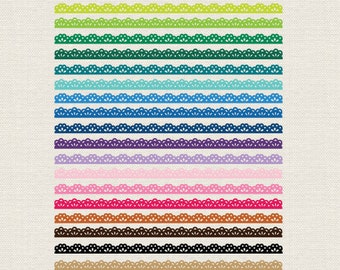 BUY 2 GET 1 FREE 50 Colorful Lace Ribbons Clip Art