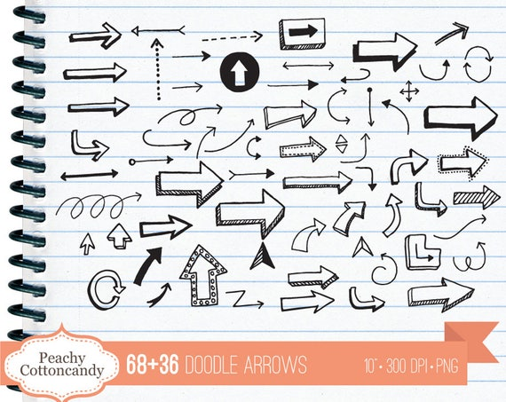 BUY 2 GET 1 FREE 68+36 Doodle Arrows clipart - hand drawn arrow clip art -  handdrawn pointed arrows design element - Commercial Use Ok