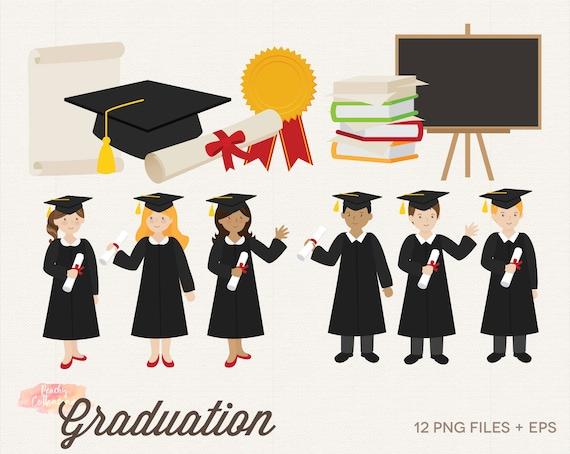 Buy 3 Get 30 Off Graduation Clipart Graduation Clip Art Etsy
