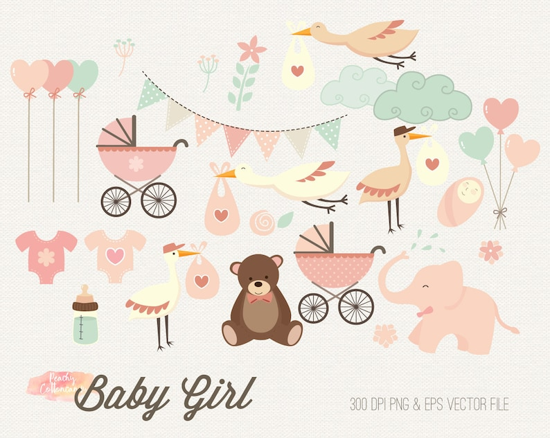 Buy 2 Get 1 Free Baby Girl Clipart Baby Shower Clipart Etsy