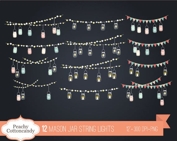 BUY 2 GET 1 FREE Mason Jar String Lights Clip Art Jars