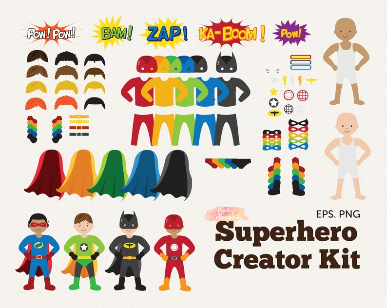 BUY 2 GET 1 FREE Superhero Clip Art Creator Kit - Build Your Own Superhero  Clipart - superhero party clipart - digital instant download