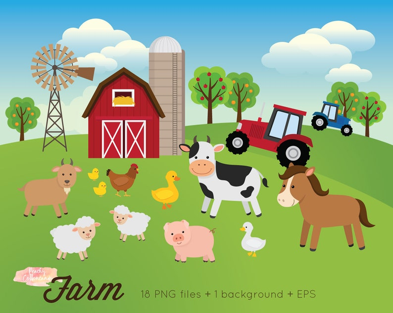 BUY 2 GET 1 FREE Farm Animals Clipart - Farm Clipart - farm animals clip  art - farm clip art - barnyard clipart - animal clipart