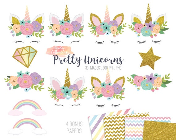 buy 2 get 1 free 33 pretty unicorn clipart cute unicorn clip etsy rh etsy com unicorn cllipart free unicorn clipart free black and white