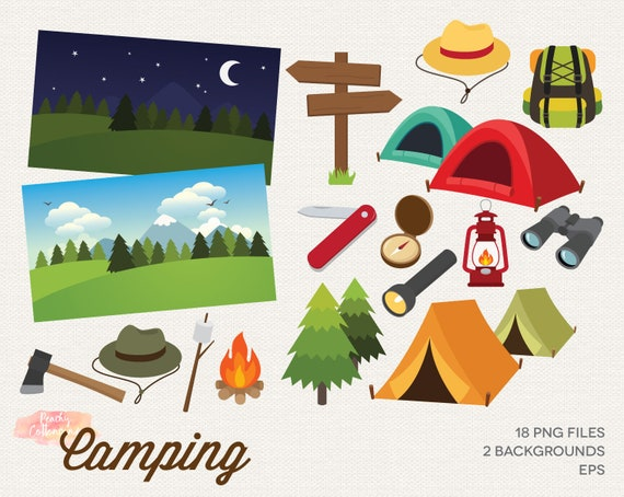 Buy 2 Get 1 Free Camping Clipart Camping Clip Art Camp Etsy