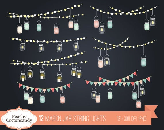 BUY 2 GET 1 FREE Mason Jar String Lights Clip Art Jars