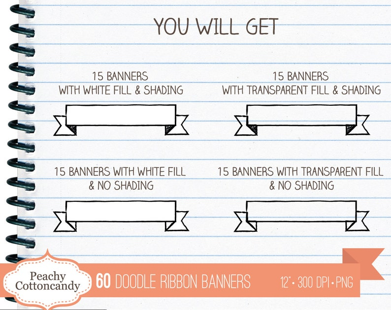 BUY 2 GET 1 FREE 60 Digital Doodle Banners - handdrawn ribbon banner clip  art - hand drawn ribbons clipart - Commercial Use Ok