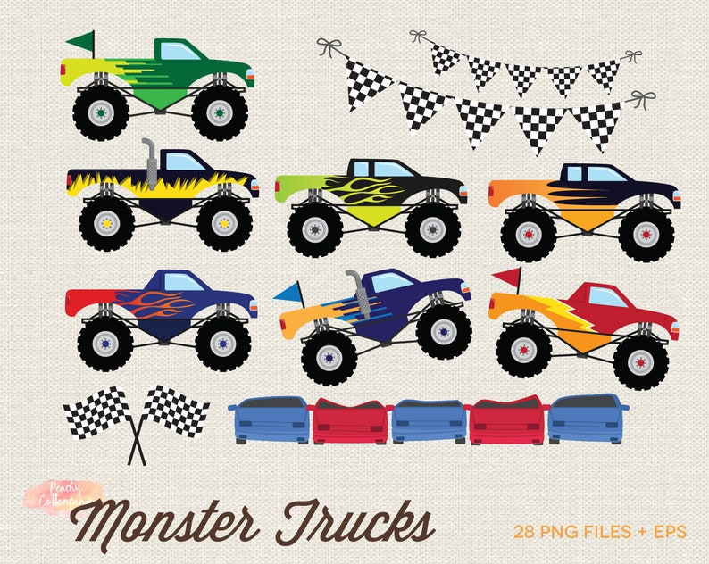 Buy 3 Get 30 Off Monster Truck Clipart Monster Truck Clip Etsy