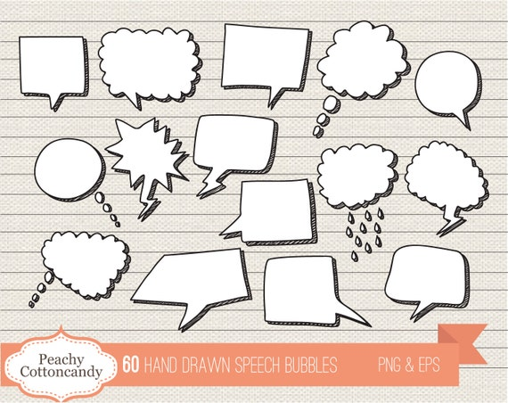 BUY 2 GET 1 FREE 60 Digital Hand Drawn Speech Bubbles - doodle speech  bubble clip art - speech bubbles clipart - Personal and Commercial Use