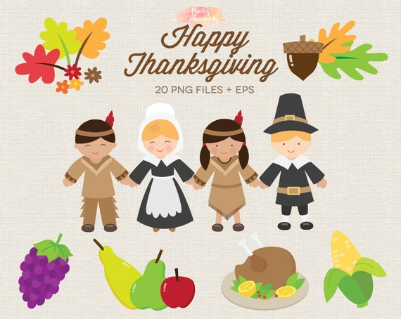 Buy 3 Get 30 Off Happy Thanksgiving Clipart Thanksgiving Etsy