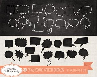 BUY 2 GET 1 FREE 60 Digital Chalkboard Speech Bubble clipart - chalk board speech bubble clip art - speech bubble clipart -Commercial Use Ok