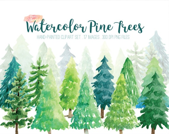 Buy 2 Get 1 Free Watercolor Pine Tree Clipart Pine Tree Clip Etsy