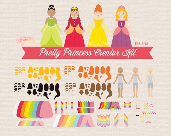 buy 2 get 1 free create your own princess clipart princess etsy
