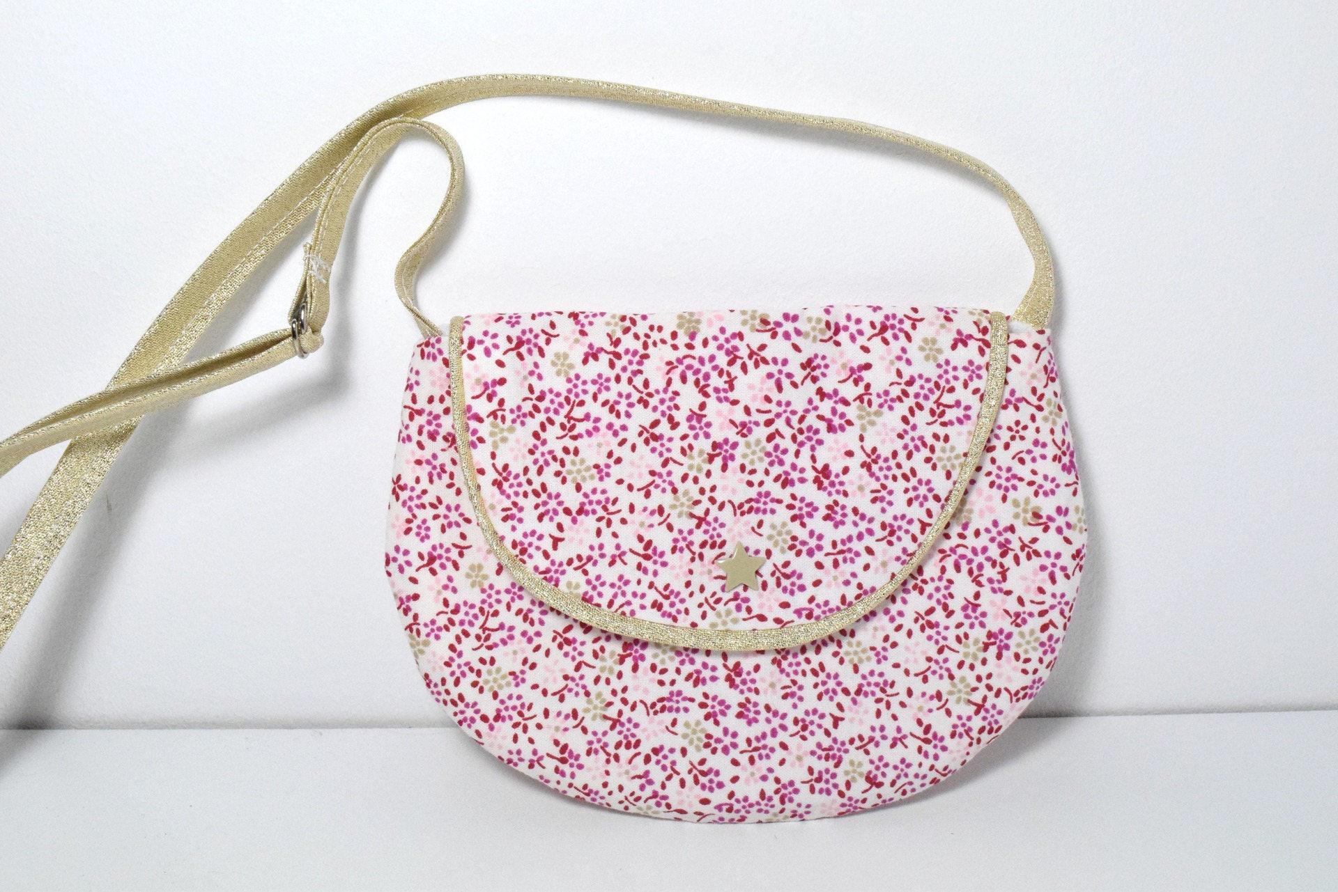 petit sac main fille enfant 2 10 ans tissu petites fleurs etsy. Black Bedroom Furniture Sets. Home Design Ideas
