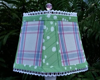 Preppy Feminine Lampshade Blue Pink Plaid Green Square Cut Corner