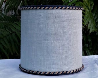 Blue Burlap Lampshade, Drum, Lamp Shade Cord Trim