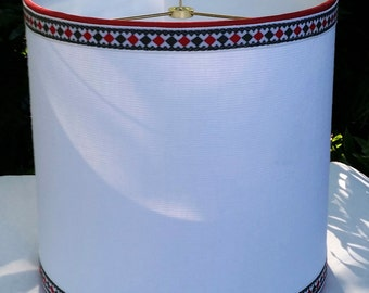 White Linen Drum Lampshade, Vintage Red Olive Trim Lamp Shade