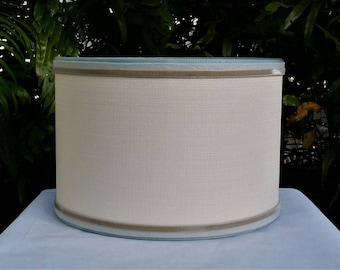 Drum Lampshade, Blush, Velvet, Blue Linen Trim Lamp Shade